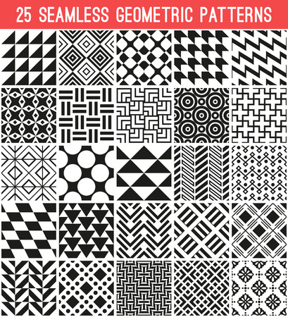 25 Universal different vector seamless patterns. Endless texture can be used for wallpaper, pattern fills, web page background,surface textures. Set of monochrome geometric ornaments.