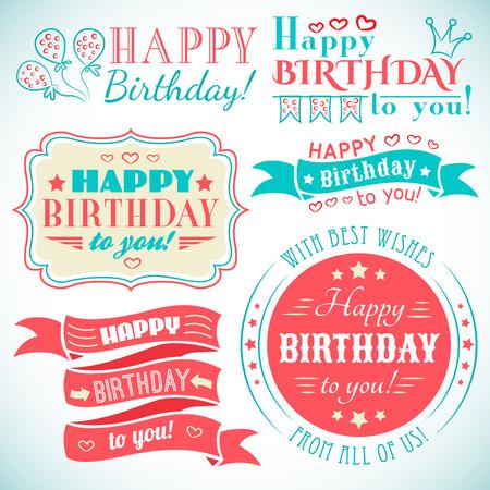 marco cumpleaños: Feliz colección de tarjetas de felicitación de cumpleaños en el diseño de fiesta. Estilo vintage retro. Cartas Tipografía fuente Type. Ilustración vectorial para su diseño bonito. Los colores rojos, blancos y azules.