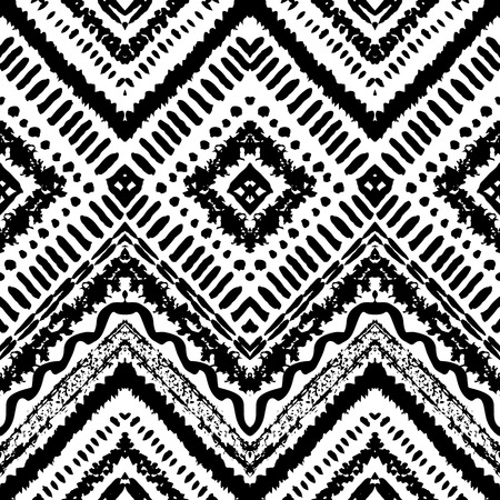 black a: Hand drawn painted seamless pattern. Vector illustration for tribal design. Ethnic motif. Zigzag and stripe line. Black and white colors. For invitation, web, textile, wallpaper, wrapping paper.