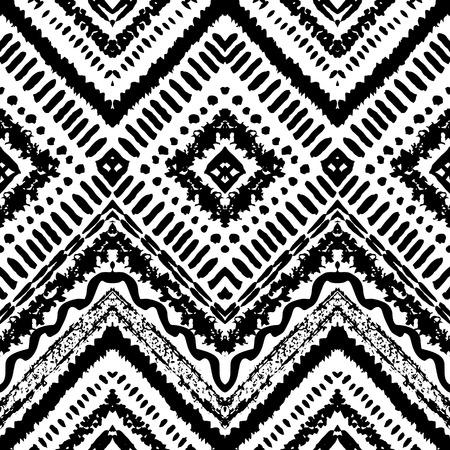 dessin noir et blanc: Hand Drawn peint seamless pattern. Vector illustration de la conception tribale. Motif ethnique. Ligne en zigzag et rayure. Couleurs noir et blanc. Pour invitation, web, textile, papier peint, papier d'emballage. Illustration