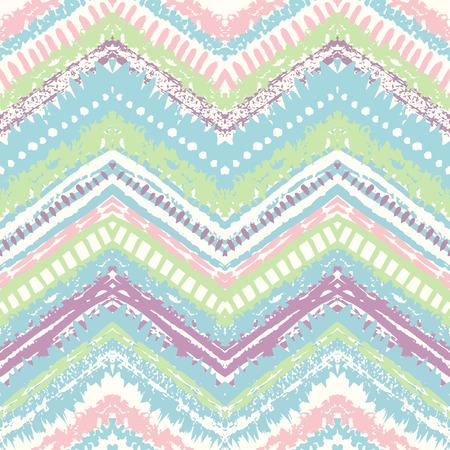 niñas bonitas: Dibujado a mano pintada sin patrón. Ilustración del vector para el diseño tribal. Motivo étnico. Línea en zigzag y la raya. Colores pastel retro. Por invitación, tela, textil, papel pintado, papel de envolver.