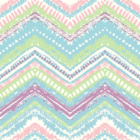 chevron: Hand drawn painted seamless pattern. Vector illustration for tribal design. Ethnic motif. Zigzag and stripe line. Retro pastel colors. For invitation, web, textile, wallpaper, wrapping paper.