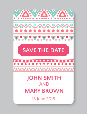 Set Of Perfect Wedding Templates With Doodles Tribal Theme. Ideal ...
