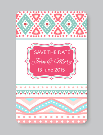 pretty: Perfect wedding template with doodles tribal theme. Ideal for Save The Date, baby shower, mothers day, valentines day, birthday cards, invitations. Vector illustration for pretty design.