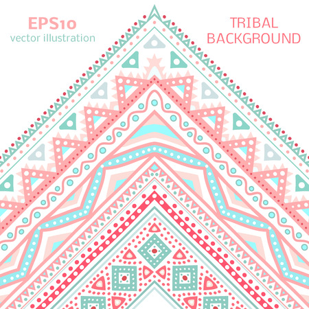 Tribal ethnic corner pattern. Vector illustration for your cute feminine romantic design. Aztec sign on white background. Pink and blue colors. Borders and frames. Pretty texture wallpaper. Vector