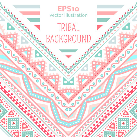 corner: Tribal ethnic corner pattern. Vector illustration for your cute feminine romantic design. Aztec sign on white background. Pink and blue colors. Borders and frames. Pretty texture wallpaper. Illustration