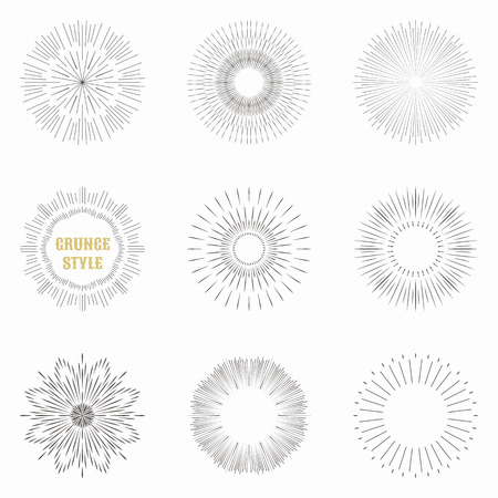 ray of light: Set of vintage sunburst. Geometric shapes and light ray collection. Hipster style frames. Vector illustration of grunge design.