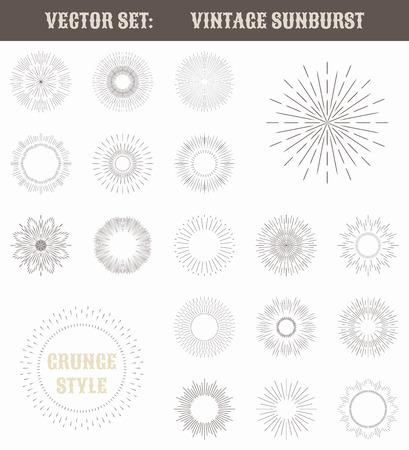 Set of vintage sunburst. Geometric shapes and light ray collection. Hipster style frames. Vector illustration of grunge design. Vector