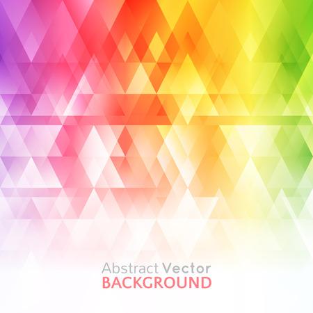 Abstracte heldere achtergrond. Vector illustratie voor een modern design. Spectrum kleuren van de regenboog. Driehoek grens patroon. Uitnodiging of wenskaart ontwerp. Gradiënt kleurrijke behang met ruimte voor bericht. Stock Illustratie