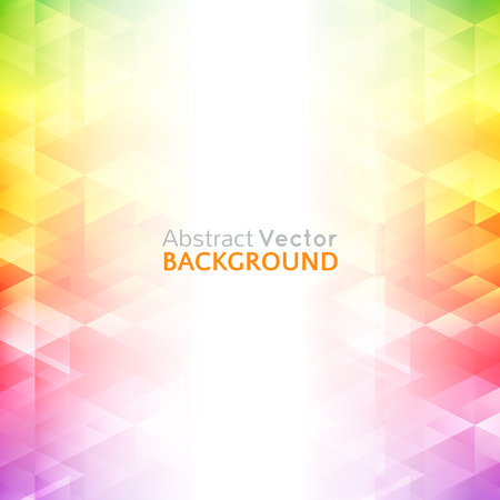 Abstract bright background. Vector illustration for modern design. Spectrum rainbow colors. Triangle border pattern. Invitation or greeting card design. Gradient colorful wallpaper with space for message.