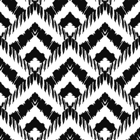 black grunge background: Hand drawn art deco painted seamless pattern. Vector illustration for tribal design. Ethnic motif. For invitation, web, textile, wallpaper, wrapping paper. Illustration