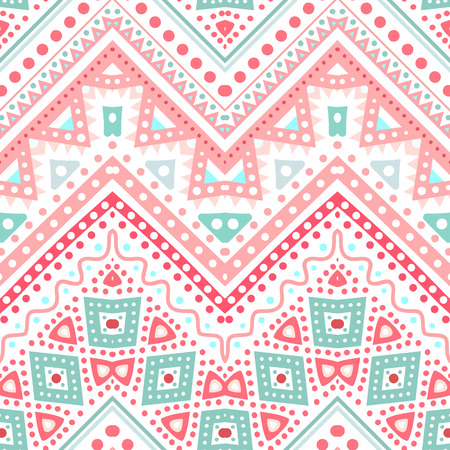 Tribal ethnic zig zag pattern. Vector illustration for your cute feminine romantic design. Aztec sign on white background. Pink and blue colors. Borders and frames. Pretty texture wallpaper. Vector