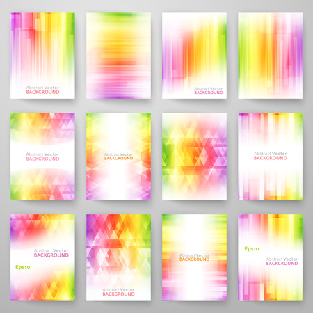 rainbow colors: Set of abstract bright background. Vector illustration for modern design. Spectrum rainbow colors. Triangle border pattern. Invitation or greeting card design. Colorful wallpaper.