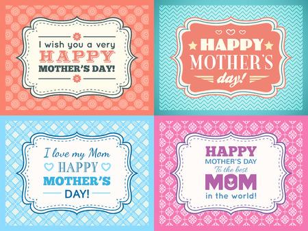 Establece madres feliz tarjeta del día. Tipografía carta tipo de fuente. Editable para feliz invitación de la fiesta de cumpleaños. Marco de la vendimia en el fondo rojo. Ilustración vectorial para su diseño retro vacaciones.