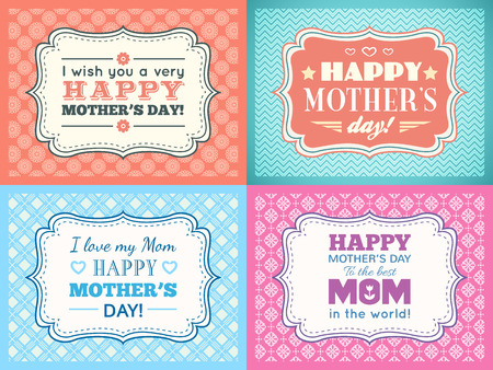 mother's: Happy Mothers day card set. Typography letter font type. Editable for happy birthday party invitation. Vintage frame on red background. Vector illustration for your retro holiday design.