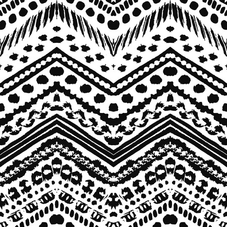 chevron patterns: Hand drawn painted seamless pattern. Vector illustration for tribal design. Ethnic motif. Zigzag and stripe line. Black and white colors. For invitation, web, textile, wallpaper, wrapping paper.