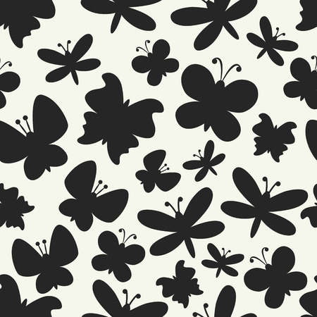 Retro seamless vector pattern of colorful butterfly silhouettes. Endless texture can be used for printing onto fabric, web page background and paper or invitation. White and black colors. Иллюстрация