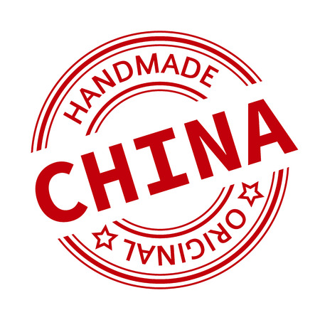 made in china: Made in China red vector graphic. Round rubber stamp isolated on white background. With vintage texture.