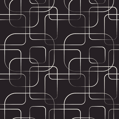Abstract geometric line and square seamless pattern. Vector illustration for modern design. Black, white color. Vector
