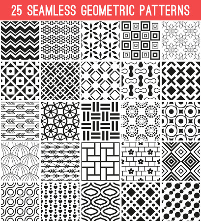 can pattern: 25 Universal different vector seamless patterns. Endless texture can be used for wallpaper, pattern fills, web page background,surface textures. Set of monochrome geometric ornaments.