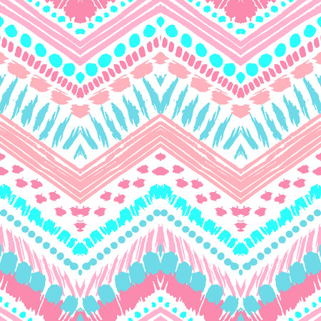 Hand drawn painted seamless pattern. Vector illustration for tribal design. Ethnic motif. Zigzag and stripe line. Black and white colors. For invitation, web, textile, wallpaper, wrapping paper.