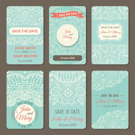 anniversario matrimonio: Serie di modelli di nozze perfette con scarabocchi tema tribale. Ideale per Save The Date, baby shower, festa della mamma, San Valentino, carte di compleanno, inviti. Illustrazione vettoriale per il disegno grazioso.