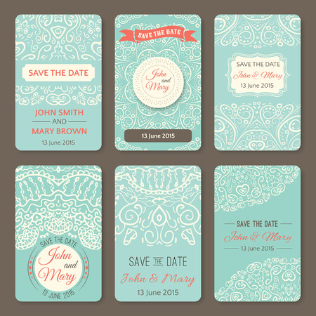wedding anniversary: Set of perfect wedding templates with doodles tribal theme. Ideal for Save The Date, baby shower, mothers day, valentines day, birthday cards, invitations. Vector illustration for pretty design. Illustration