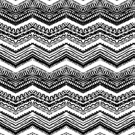 tribales: Dibujado a mano pintado sin patr�n. Ilustraci�n vectorial para dise�o tribal. Motivo �tnico. L�nea en zigzag y raya. Colores blanco y negro. Por invitaci�n, web, textil, papel pintado, papel de envolver. Vectores