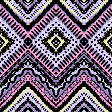 Hand drawn painted seamless pattern. Vector illustration for tribal design. Ethnic motif. Zigzag and stripe line. For invitation, web, textile, wallpaper, wrapping paper. Vector