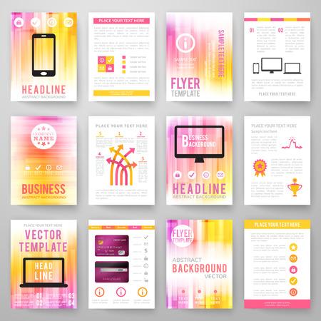 a4 borders: Set di astratto sfondo luminoso per volantino, brochure modello.