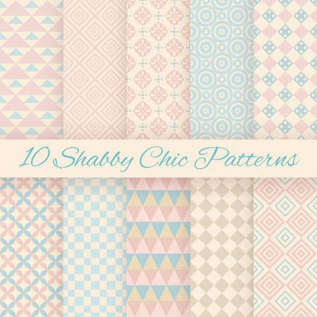 10 Pastel retro different vector seamless patterns. Endless texture can be used for wallpaper, pattern fills, web page background, surface textures. Set of shabby geometric ornaments.