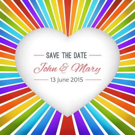 impressive: Rainbow heart background with Save the date. Vector illustration for lovely one. Easy to use how valentine postcard. Very impressive, bright, simple and cheerful. Invitation for wedding.