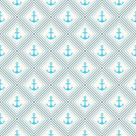 paper  texture: Seamless vector pattern of anchor shape and line. Endless texture for printing onto fabric, web page background and paper or invitation. Abstract retro nautical style. White and blue colors.