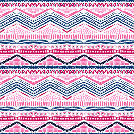 zig zag: Hand drawn painted seamless pattern. Vector illustration for tribal design. Ethnic motif. Zigzag and stripe line. For invitation, web, textile, wallpaper, wrapping paper.