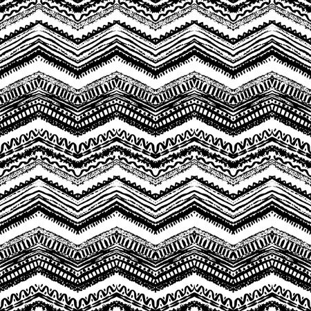 tribales: Dibujado a mano pintado sin patrón. Ilustración vectorial para diseño tribal. Motivo étnico. Línea en zigzag y raya. Colores blanco y negro. Por invitación, web, textil, papel pintado, papel de envolver. Vectores