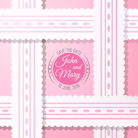 holiday picture: Pink background with vintage realistic pink and white lace. Vector illustration for your lovely design. Abstract holiday picture. Save the date. Invitation for wedding. Illustration