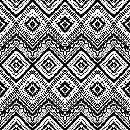 Hand drawn painted seamless pattern. Vector illustration for tribal design. Ethnic motif. Zigzag and stripe line. Black and white colors. For invitation, web, textile, wallpaper, wrapping paper. Vector