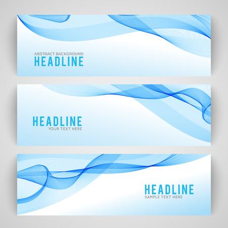 白い背景に分離された抽象的な青い波のセットです。現代ビジネス設計上のベクトル図です。未来的な壁紙。プレゼンテーション、カード、チラシ  イラスト・ベクター素材