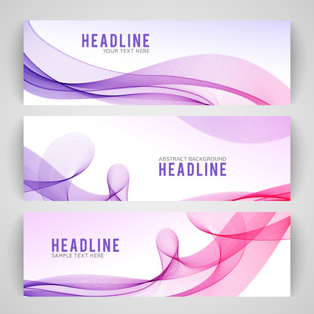 headers: Set of abstract purple wave isolated on white banner background. Vector illustration for modern business design. Futuristic wallpaper. Cool element for presentation, card, flyer and brochure.