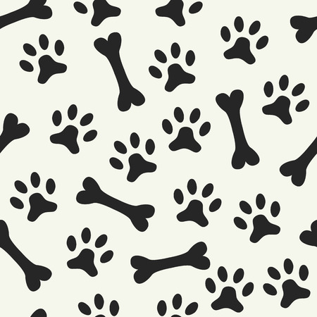 dog kennel: Animal seamless vector pattern of paw footprint and bone. Endless texture can be used for printing onto fabric, web page background and paper or invitation. Dog style. White and black colors.