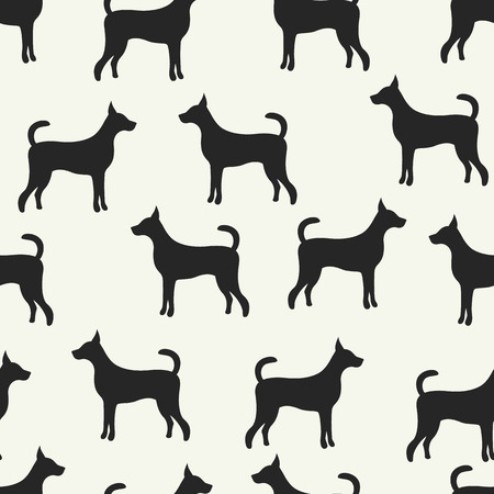 animal vector: Animal seamless vector pattern of dog silhouettes. Endless texture can be used for printing onto fabric, web page background and paper or invitation. Doggy style. Black and white colors. Illustration