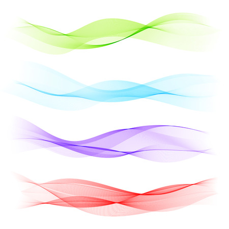 白い背景に分離された抽象的なカラフルな波。現代ビジネス設計上のベクトル図です。未来的な壁紙。プレゼンテーション、カード、チラシ、パン  イラスト・ベクター素材