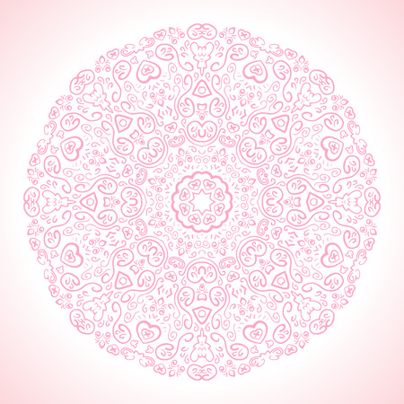fond: Beautiful pink ornamental background. Vector illustration for your romantic fashion design. Fond fine greeting card, round postcard with floral ornaments, excellent element for menu and invitation.