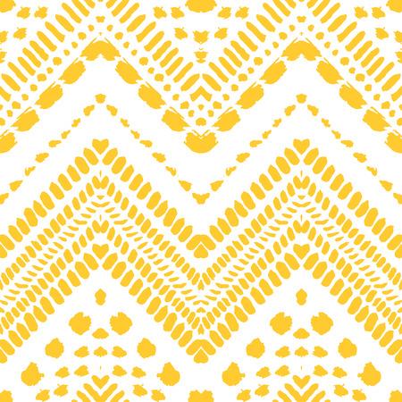 tribales: Dibujado a mano pintada sin patr�n. Ilustraci�n del vector para el dise�o tribal. Motivo �tnico. L�nea en zigzag y la raya. Colores amarillo y blanco. Por invitaci�n, tela, textil, papel pintado, papel de envolver. Vectores