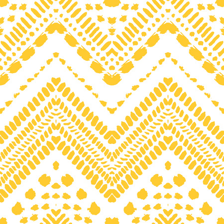 Hand drawn painted seamless pattern. Vector illustration for tribal design. Ethnic motif. Zigzag and stripe line. Yellow and white colors. For invitation, web, textile, wallpaper, wrapping paper. Ilustrace