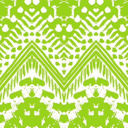 Hand drawn painted seamless pattern. Vector illustration for tribal design. Ethnic motif. Zigzag and stripe line. Green and white colors. For invitation, web, textile, wallpaper, wrapping paper. Vector