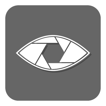 shutter aperture: Shutter eye conceptual flat abstract icon isolated on white background. Aperture. Vector illustration for modern photography design. Monochrome. Black and white colors. Illustration