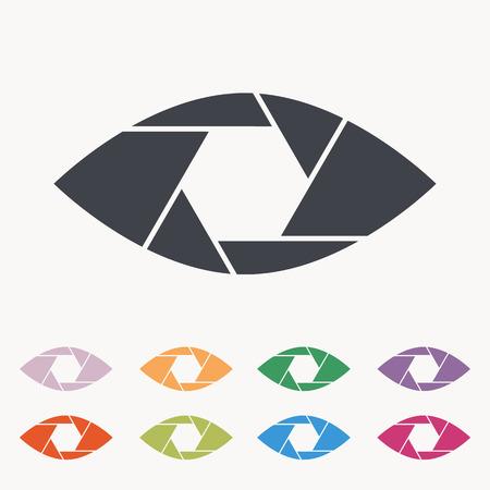 Macchina fotografica: Occhio Shutter concettuale piatto icona astratto isolato su sfondo bianco. Aperture. Illustrazione vettoriale per il design moderno fotografia. Monocromatico.