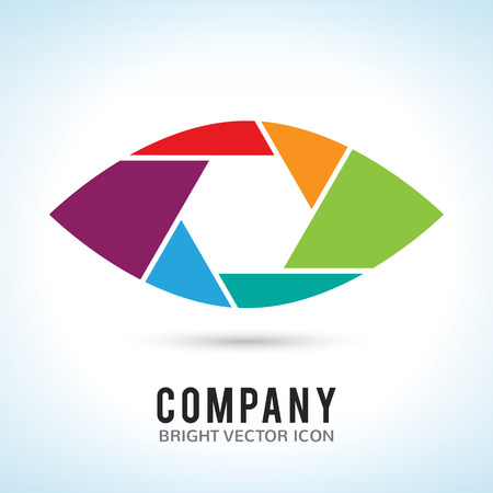 shutter aperture: Shutter eye conceptual flat abstract icon isolated on white background. Aperture. Vector illustration for modern photography design. Colorful. With shadow.