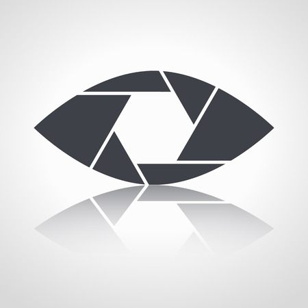 shutter aperture: Shutter eye conceptual flat abstract icon isolated on white background. Aperture. Vector illustration for modern photography design. Monochrome.